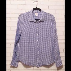 J Crew Button-Down Perfect Shirt | Blue/White | M